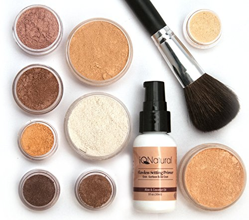 iQ Natural Mineral Makeup Starter Kit – Powder Brush, Silk Primer, Mineral Foundation, Setting Veil, Bisque Concealer, Bronzer + Eye Shadow for Flawless Bare Looking Skin, Full Set (Fair)