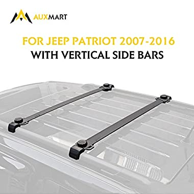 AUXMART Roof Rack Cross Bars Fit for Jeep Patriot 2007 2008 2009 2010 2011 2012 2013 2014 2015 2016 with Vertical Side Bars - 132LBS/60KG Capacity …