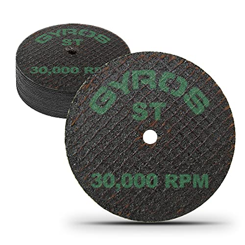"""Gyros 2"""" Resin Cut-Off Wheels for Rotary Tools; 12 Double Fiberglass Reinforced Cutting Discs; Super-Tensile Materials like Titanium, Carbon; Dremel Cutting Tool Accessory; Made in USA 11-42002/12"""