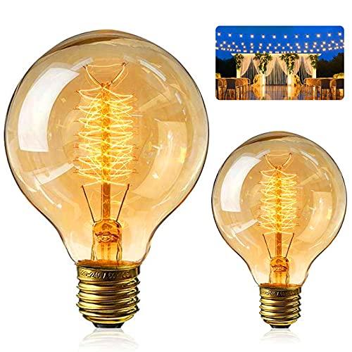 Gohytal Bombilla Edison vintage, E27 G80, 40 W, blanco cálido, bombilla de filamento antiguo, forma de gota, bombilla ámbar, decoración ideal para iluminación retro en restaurantes, cafeterías, bares