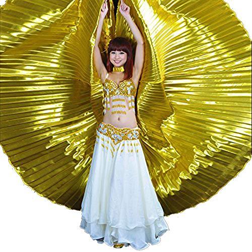 Calcifer Egipto Egipto Baile Alas Isis Alas Disfraz Regalo para Fiesta Grande Navidad (Oro)