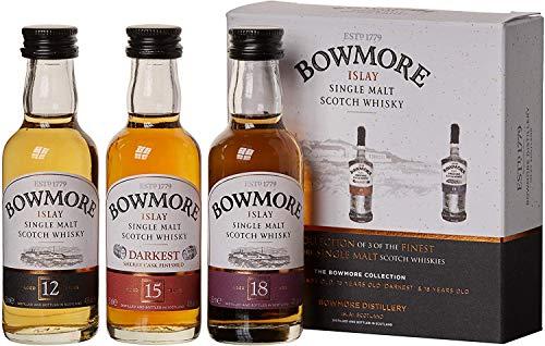 Bowmore Whisky Geschenkset Mit 12 Jahre, 15 Jahre und 18 Jahre, 3 x 0,05l, (3er Pack)