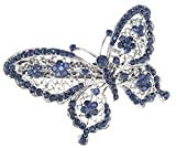 SaySure - Butterfly Hairpin Blue Crystal Headwear Barrette Hair Clip -