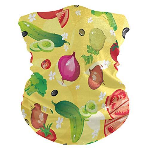 LIUBT Bandana Gesichtsmaske Staubschutz Outdoor Sport Kopftuch Sonne UV Motorrad Lustig Gemüse Gurke Tomate Zwiebelmuster Gesicht Schal für Damen Herren