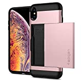 【Spigen】 iPhone XS Max ケース 6.5インチ 対応 耐衝撃 MIL規格 落下防止 Qi充電 IC カード 収納 ポケット パスケース スリム・アーマー CS 065CS24843 (ローズ・ゴールド)