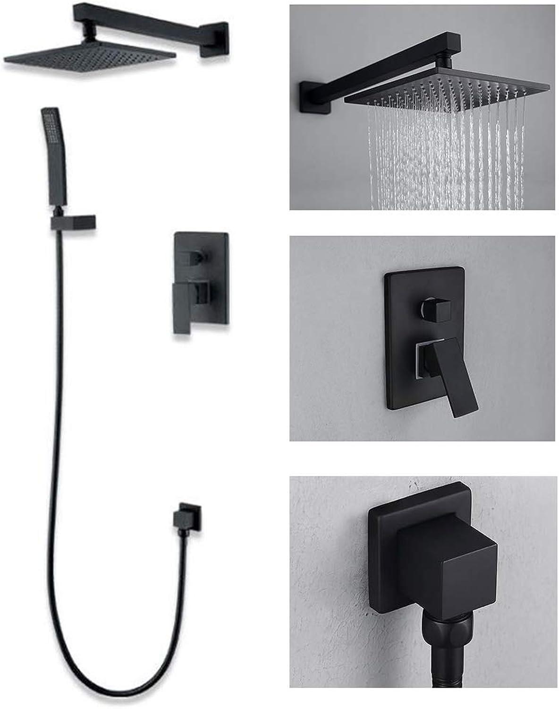 LJIE Thermostatbrausegarnitur Kupfer schwarz Grüncktes Regenduschsystem in der Wand warm und kalt eingebettet