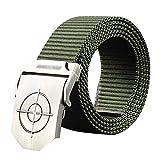 Cinturón de nailon ligero. Cinturón exterior automático de nailon para hombres, de secado rápido, decorativo, para jóvenes, color verde, tamaño: 115 cm