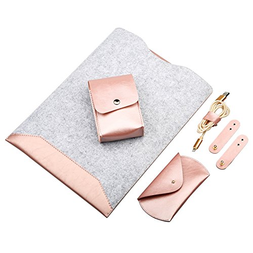 ParaCity Macbook Case Organizer Leather Case Laptop Cover Double Layer Carrying Case for Mac book with Accessory Pocket (Macbook 12 inch, Rose Gold)