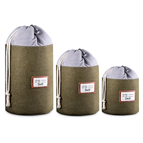 Zecti Thick Protective Lens Pouches Set for DSLR Camera Lens with Water Resistant Canvas Material,...