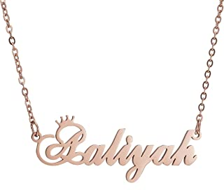 Personalized Custom Name Crown Initial Necklace for Women Any Name Bar Pendant Necklaces Jewelry Chain for Girl