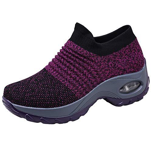 Zapatos Deporte Mujer Zapatillas Deportivas Correr Gimnasio Casual Zapatos para Caminar Mesh Running Transpirable Aumentar Más Altos Sneakers Negro Gris Morado Rojo 35-44 Morado 39
