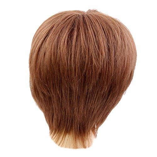 MERIGLARE Perruque Courte De Fibre Synthétique De Perruque Et Cheveux Humains Résistants à