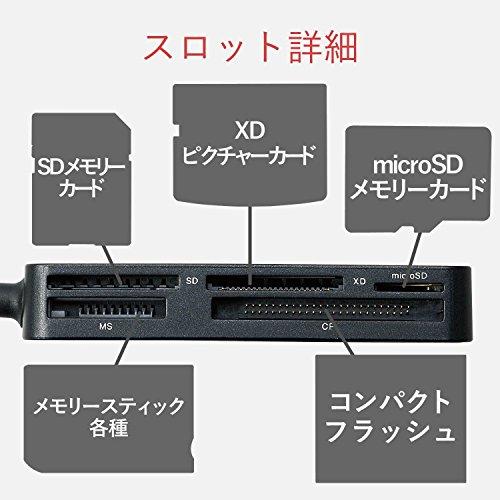 エレコムカードリーダーUSB3.09倍速転送スリムコネクタケーブル一体タイプブラックMR3-A006BK