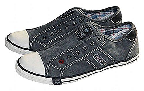 Tysonz American Chillers Sommer Sneakerz Schuhe ohne Schnürsenkel Anthrazit 37-46 NEU (41)