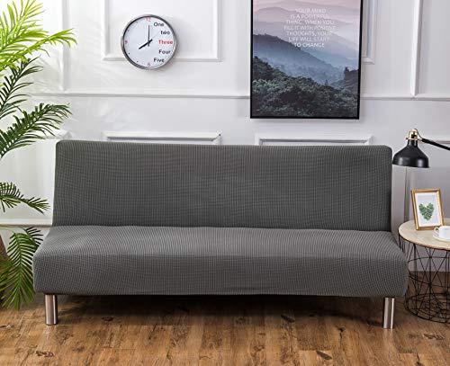 SHANNA Funda para sofá de futón, elástica, sin Brazos, Antideslizante, elástica, Plegable, para sofá Cama Plegable (Gris-Plata, Jacquard de Punto)