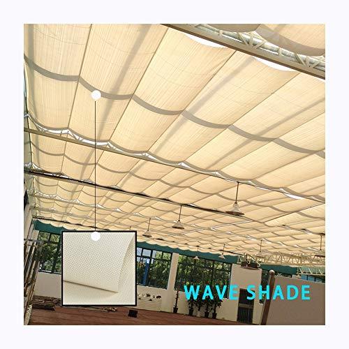 GDMING Voile D'Ombrage Rétractable Vague Canopée Extérieur Couverture Protection UV Perméable pour Terrasse Patio Store Polyester Remplacement Couverture De Pergola Format Personnalisé