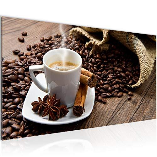 Bilder Küche Kaffee Wandbild Vlies - Leinwand Bild XXL Format Wandbilder Wohnzimmer Wohnung Deko Kunstdrucke Braun 1 Teilig - MADE IN GERMANY - Fertig zum Aufhängen 501812a