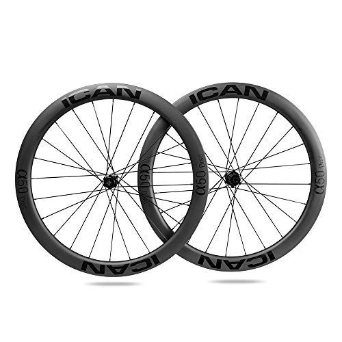 ICAN Ruote in carbonio Alpha 50 Disc ruote per bicicletta da strada 50 mm Clincher tubeless Ready Disco freno 12 x 100/12 x 142 mm