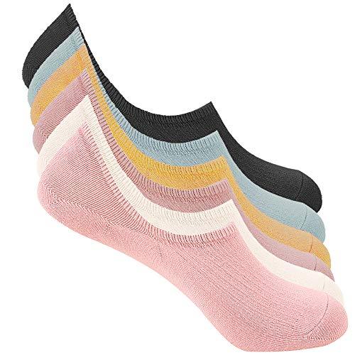 Bestele 6 Pares Calcetines Invisibles Hombre & Mujer, Algodón Transpirable Calcetines Cortos Elástco con Silicona Antideslizante Calcetín para Zapatos de Casuales (6*Colores de Helado, 34-40)