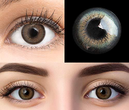 GLAMLENS Bari Gray Grau + Behälter | Sehr stark deckende natürliche graue Kontaktlinsen farbig | farbige Monatslinsen aus Silikon Hydrogel | 1 Paar (2 Stück) | DIA 14.20 | Ohne Stärke