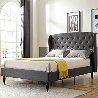 DeCoro Coventry Upholstered Platform Bed | Headboard and Metal Frame with Wood Slat Support | Grey, King