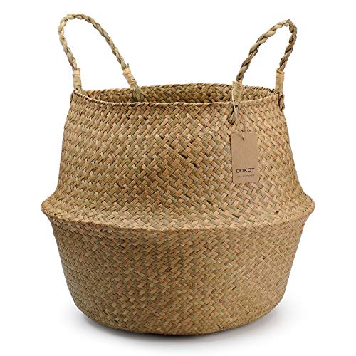 DOKOT Natural Seagrass Woven Plant Pot Laundry Storage Belly Basket With Handle (27 x 24cm, Natural)