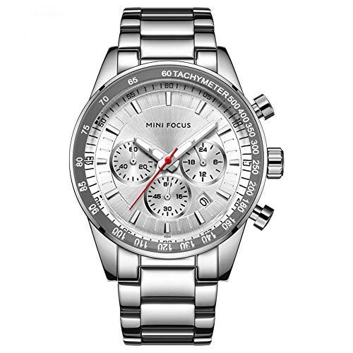 Herren Uhren Quartz 30 M Wasserdichtes, Lässige Chronograph Uhren, Business Uhren Kalender, Männer Militär Edelstahl Armbanduhr Uhren,Mf0187g.02