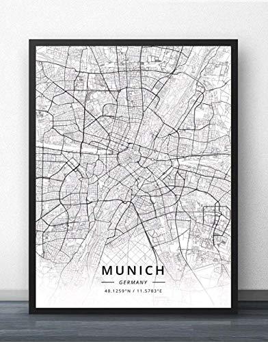 ZWXDMY Impresión De Lienzo,Mapa De La Ciudad De Munich, Alemania Texto Simple En Blanco Y Negro Lienzo Impresión Abstracta Pintura Mural Póster Sin Cerco Cafe Bar En La Decoración del Hogar,40×50 Cm.