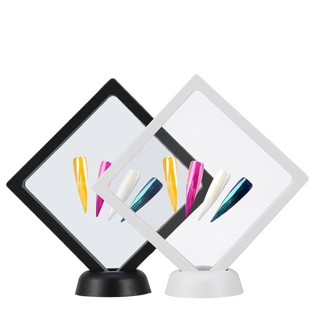 私達四三番Yosoo 2個入り ネイルチップ ディスプレイ スタンド マニキュア ネイルサンプル ホルダー ネイルカラーチャート ネイルテンプレート ネイルケア ネイルアートツール 組立て式 白+黒 展示用 自宅 サロン?