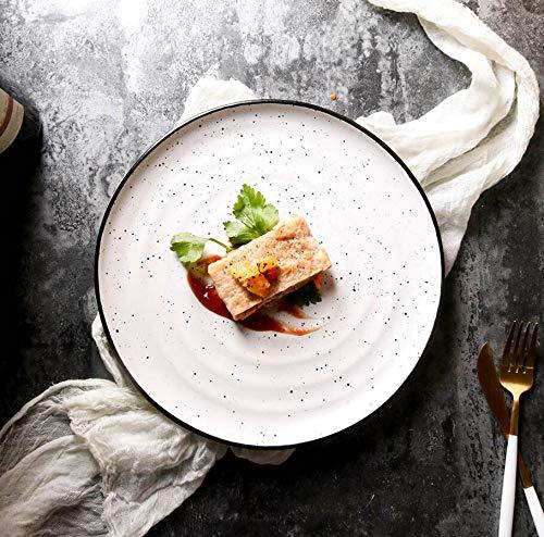 Piatto Rotondo Di Ceramica Macchiato Piatto Di Insalata Domestico Piatto Caldo Di Verdure Piatto Filettato Piatto Di Bistecca Ristorante Occidentale, Tuba