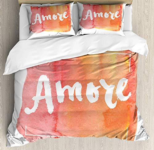 Amore Quote 4pc Duvet Cover Flat Sheet and 2 Pillow Shams Bedding Set for Adult/Kids/Children/Teens, Queen Love Theme Italian Way Inky Tangerine Toned Background with Brush Strokes Print, Multicolor