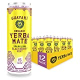 Guayaki Yerba Mate, Organic Sparkling Drink, Blackberry Mint, 12 Ounce Cans (Pack of 12), 80mg Caffeine, Low Sugar with 15 Calories Per Can, Alternative to Coffee, Tea, Soda and Energy Drinks