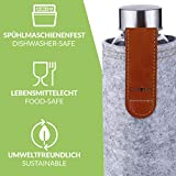 Cosumy Trinkflasche aus Glas mit Filzhülle für Unterwegs - 750ml Glasflasche - Auslaufsicher - Robustes Borosilikatglas - 4