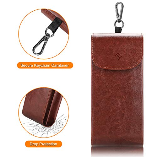FINTIE Double Glasses Case with Carabiner Hook, Portable Vegan Leather Dual Eyeglasses Bag Anti-scratch Sunglasses Pouch, Spectacle Cases for Women Men, Brown
