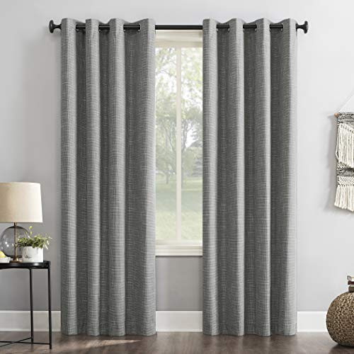 "Sun Zero Brooks Burlap Weave Thermal Extreme 100% Blackout Grommet Curtain Panel, 52"" x 96"", Gray"