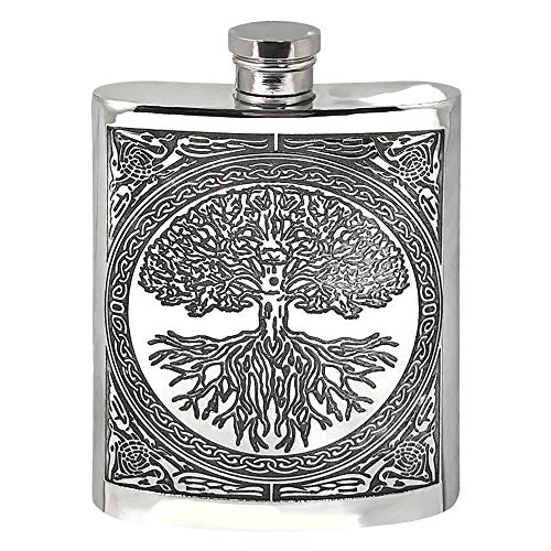 English Pewter Company Celtic Design Tree of Life 6oz Pewter Liquor Hip Flask [CEL601]
