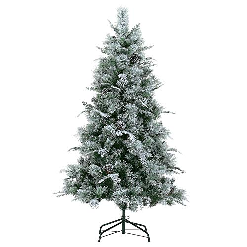 LordofXMAS Flocked Artificial Christmas Tree, Prelit 6' Pine with 552 Realistic Tips 250 LED Clear Lights Metal Stand Pinecones, White on Green