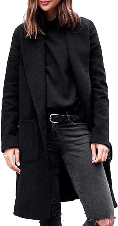 Alion Womens Solid Winter Plus Size Lapel Cardigan Outwear Pea Coats Outwear
