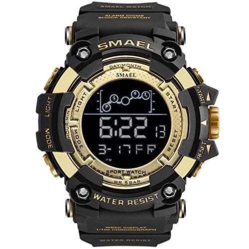 SMAEL Reloj Digital para Hombre - 50M Impermeable Deportivo Relojes con Alarma/Cuenta Regresiva/Cronómetro Cronógrafo para Hombre,Oro