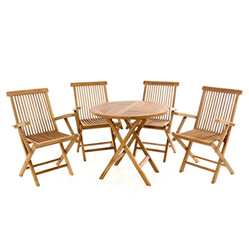 Nexos Trading Divero Gartenmöbel-Set Terrassenmöbel-Garnitur Sitzgruppe Tisch Ø 80cm 5-TLG. 4X Holzstuhl mit Armlehnen klappbar - Teakholz massiv behandelt