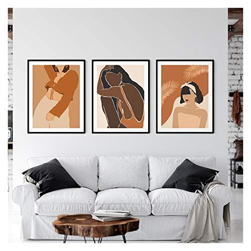 GKMM África Boho Girl Power Black Mujer Nórdica Cartel y Impresión Arte de la pared Abstracto Lienzo Pintura Imprimir Imágenes de la pared para la sala de estar 20x28inx3 Sin Marco