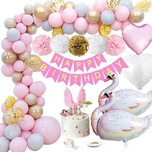 MMTX Geburtstagsdeko Mädchen, Geburtstag Deko Happy Birthday Girlande Ballons Geburtstag Dekoration Set mit Luftballons, Seidenpapier Pompoms and Cake Topper für Mädchen und Frauen Geburtstag, Party