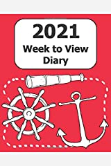 """2021 Weekly Diary: Large Print (Mariner - Red Cover) - 8"""" x 10"""" with Months, Important Dates & Week to View Planner - Simple layout. Large Print. Easy to use for visually impaired Paperback"""