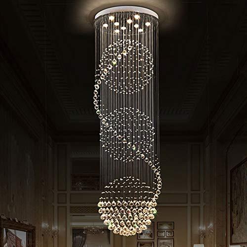 no-branded Sygjal 60 * 60 * 180cm de Lujo de Techo Villa Dúplex Escalera Largo cristalino de la lámpara de LED Enciende la luz Caliente Home Hotel Decoración