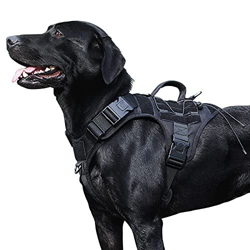 Dog Harness,Variegata Tactical Dog Harness,Harness for Large Dogs,Military Dog Vest with Handle,Service Dog Harnesses Moll Loop Panels,No Pull Dog Harness,Training/Hunting/Walking,Large,Black