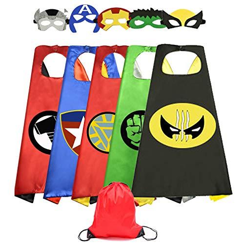 HUIHAI Capas de Superhéroe para Niños,5 Capa y 5 Máscaras y,de Fiesta de Cumpleaños de Navidad Víspera de Todos los Santos Los Mejores Regalos,Ideas Kit de Valor de Cosplay de Diseño
