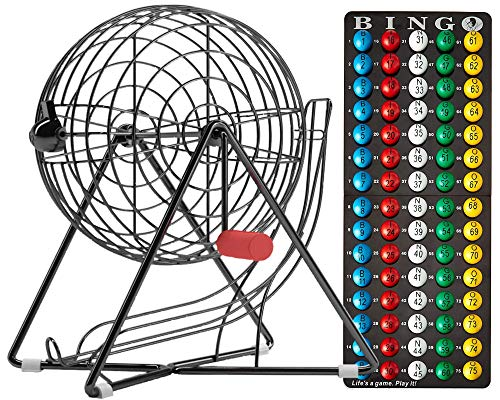 "Mr. Chips Official Professional-Use Small Plastic Coated Bingo Cage Set w/No-Glare, Fade Scratch Resistance Proprietary Technology 7/8"" Easy-Read Bingo Balls, 11"" High, Inc"