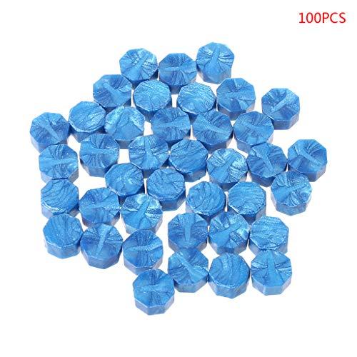 100unidades Sobres Junta Cera Retro Octagon perlas DIY Decoración Multicolor sellos azul celeste