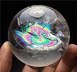 AITELEI Bola de cristal de fluorita natural arcoíris bola de cuarzo bola de cristal blanco con luz arco iris curativa escultura figura Fengshui decoración