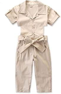 Jojck Baby Girls Button Hollow Out Jumpsuit Children Solid Cotton Short Sleeve Lace up Summer Long Playsuit